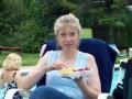 Joyce enjoys a snack