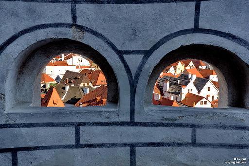 Czesky Krumlov (starówka) z murów zamku