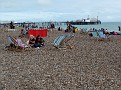 Brighton's shingle beach with the Palace Pier in the background, AUG 2011