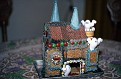 """Ghost gingerbread house made by Margie for Debra on publication of her book, """"Ghosts on the Range,"""" DEC 1987."""