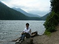 Me, sitting on the lakeshore