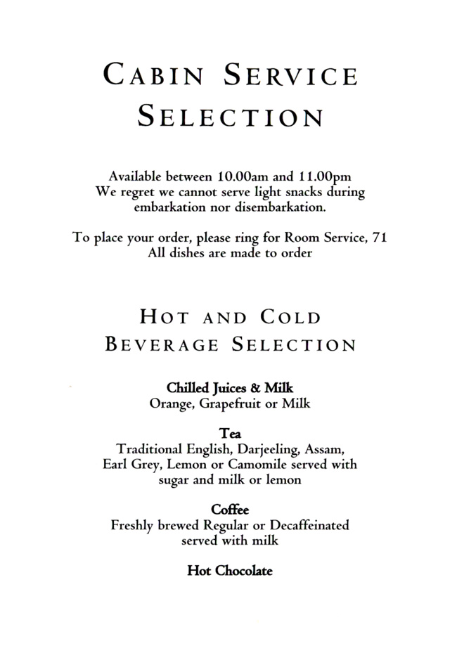 Cabin Service Menu - Selection 1