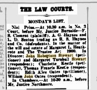 Newspaper listing of the divorce petition of John Robertson Stewart, Nov. 20, 1926, Perth Australia