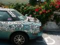 DSCN5912  shelled car and flowers in Key West