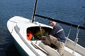 David adjusting his sail boat