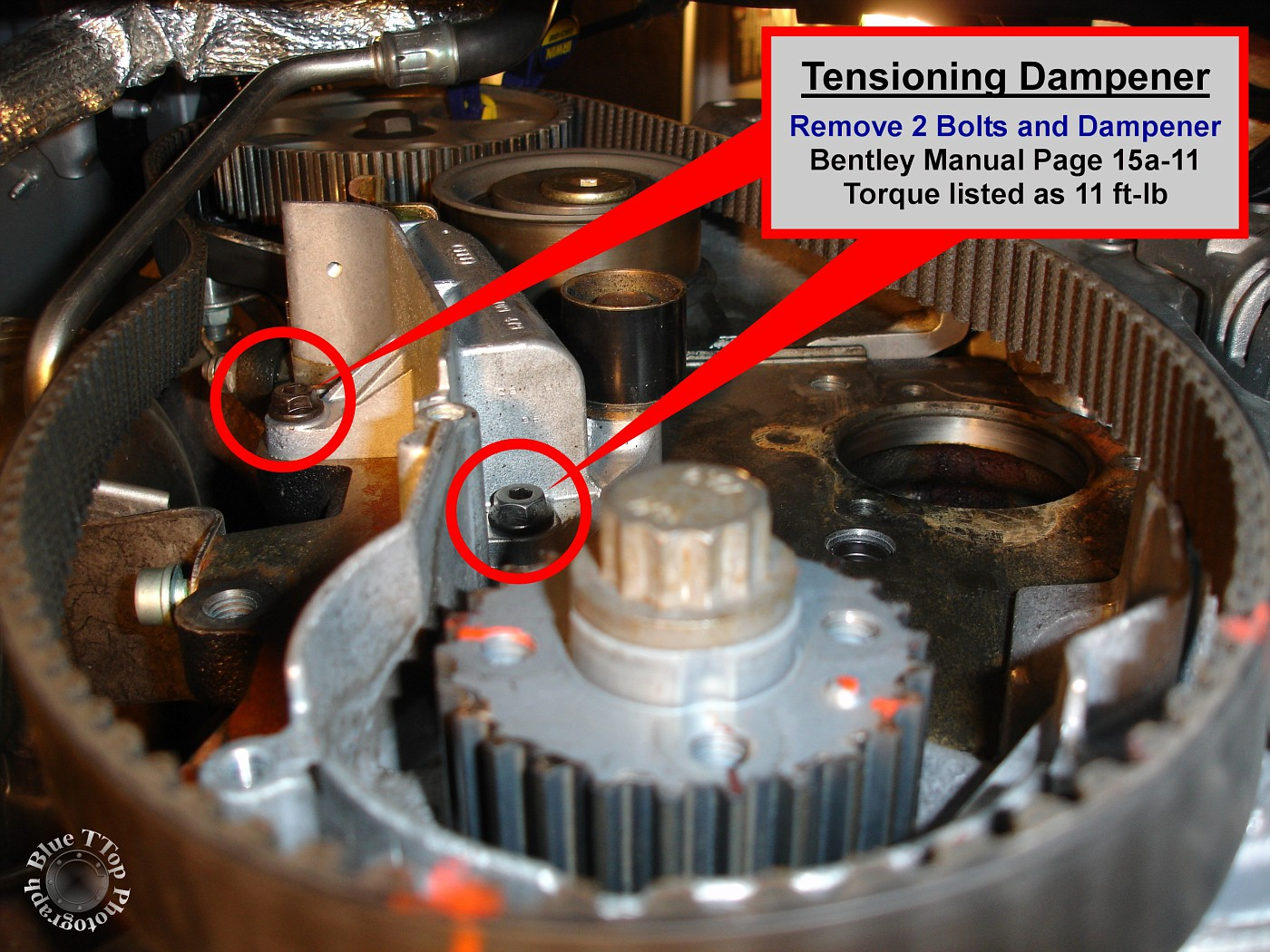 Step 21: Remove Tensioning Dampener. Remove the 2 bolts (10mm) and  Tensioning Dampener. Bentley Manual page 15a-11.