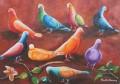 """Pigeons 18"""" x 24"""" Huile sur canvas (collection privée de Nanette Ecker)"""