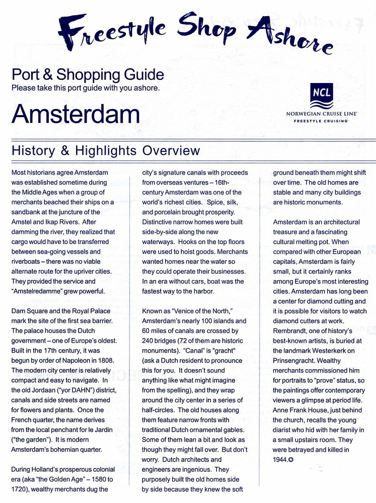 NCL's Amsterdam Port & Shopping Guide