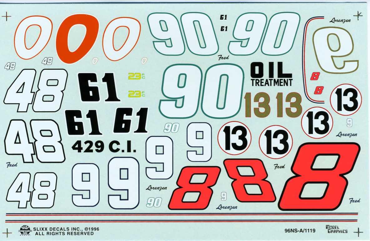 Photo: Number Sheet A 426   Slixx Decals album   El Camino Billy ...