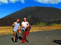This was my Favorite Photos of our Volcano Boarding Adventure... Ohhh, the Anticipation!!!  In 1.5 hours we had trekked to the top of Cerro Negro, behind us, on loose volcanic rock and gravel, in the Blue Skies, 95F and Brisk winds.  And them boarded down