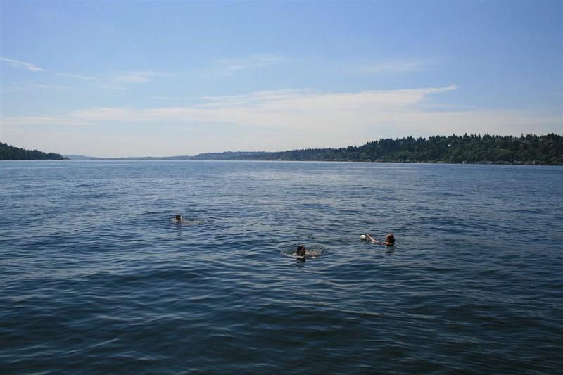 Nice shot of Sam, Margot and David in Lake Washington.