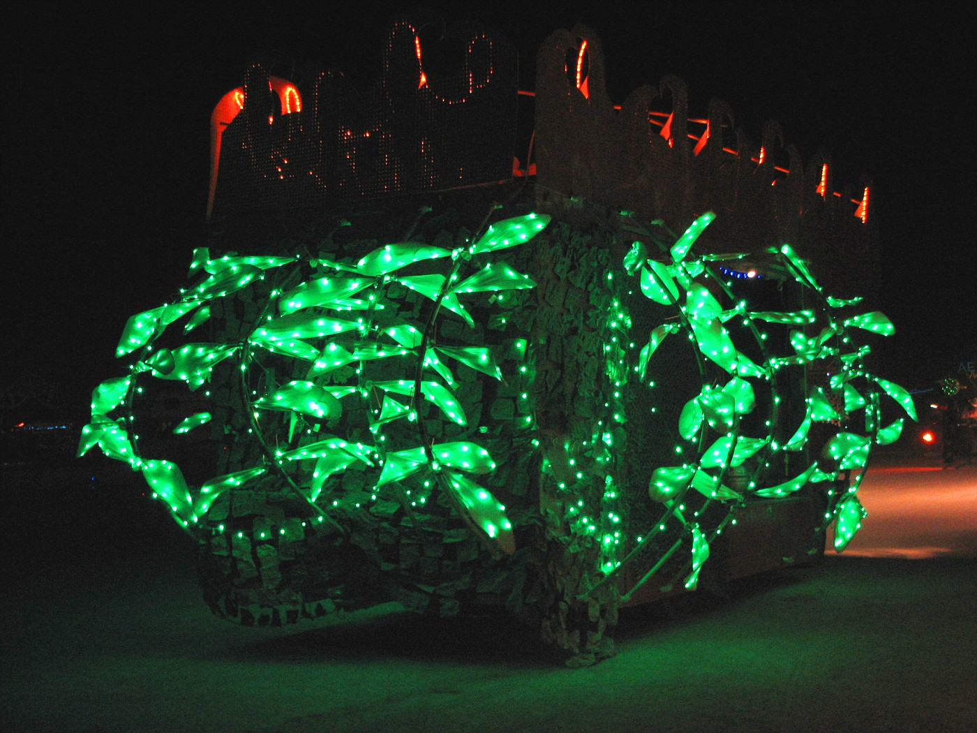 art car with green leaves