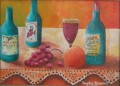 """Bouteilles de vin 11"""" x 14"""" Huile sur canvas"""