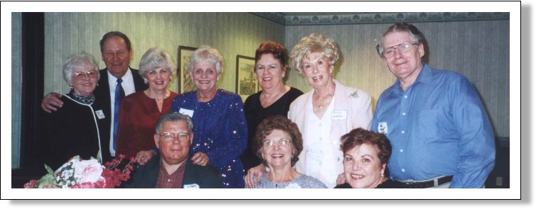 Top row - George Pineman & Wife, Dottie Driscoll, Sarah Tobochman, Stella Radlac, Beverly Leverson, Alan Hipwell Class of '60, bottom row, Henry Ducan and Joan Mac Vicar Ducan and Norma de Thomasis Mosia