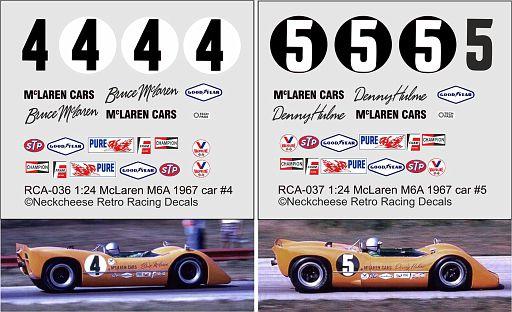 RCA-036/037 McLaren M6A team cars DKK 80,- / € 10,70 each + postage