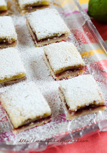 lime-raspberry bars