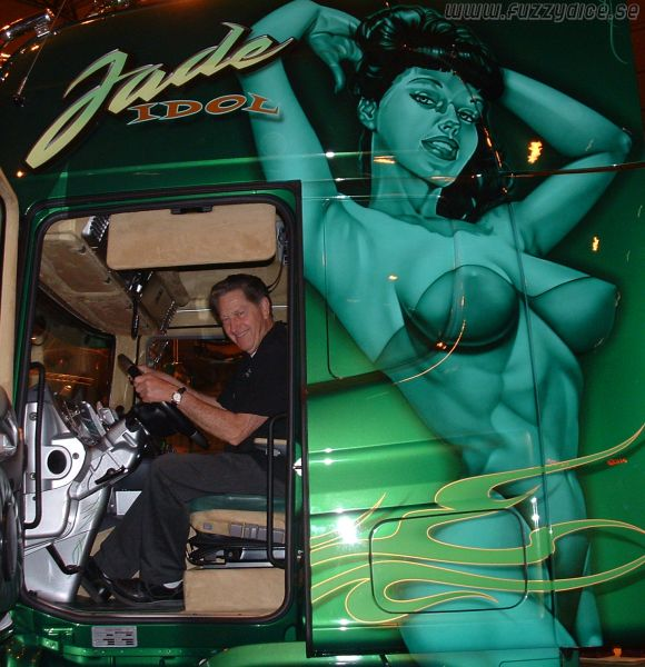 Gene Winfield in the Jade Idol truck that was built by Carsten Nielsen as a tribute to the original Jade Idol, a beautiful Mercury that Gene customized in the fifties.