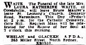 FUNERAL ANNOUNCEMENT LAURA KATHERINE WAITE Friday 22 April 1949