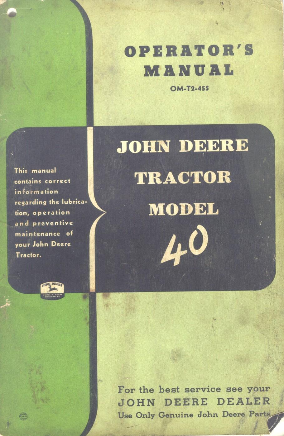 John Deere Tractor Model 40 Operator's Manual