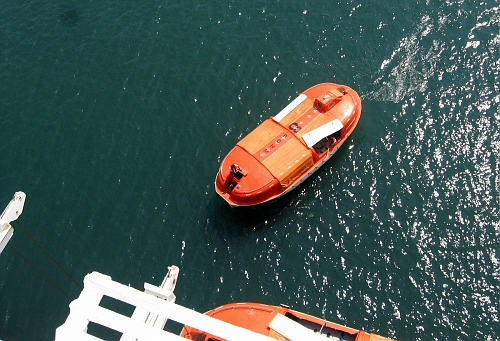 Ship's crew tests lifeboats