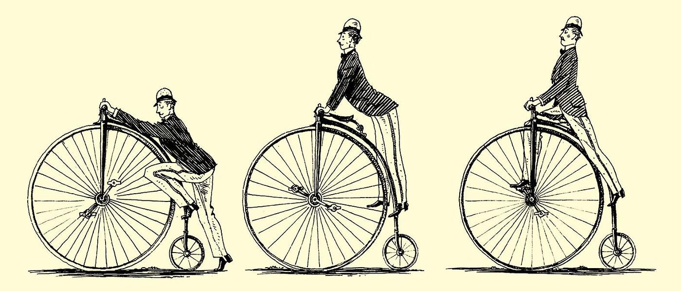 Hochrad besteigen