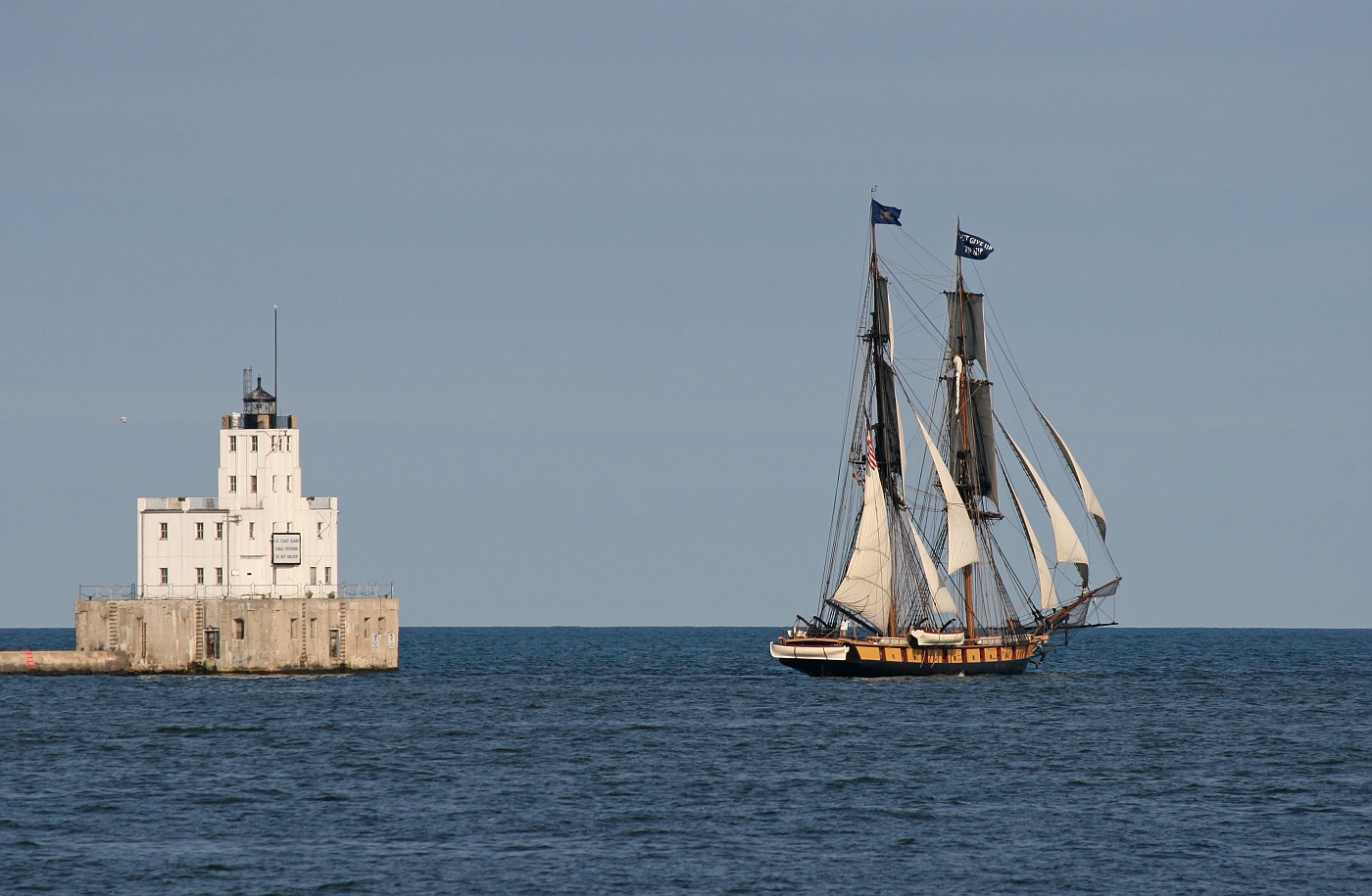 Milwaukee Breakwater Lighthouse and the Brig Niagara