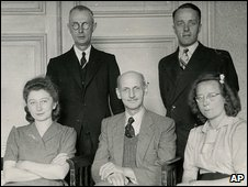 Gies, bottom left, and Otto Frank, next to her, were reunited after the war